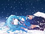 Konachan.com - 68240 blue_hair chinese_dress eretto hat hinanawi_tenshi long_hair night red_eyes snow thighhighs touhou