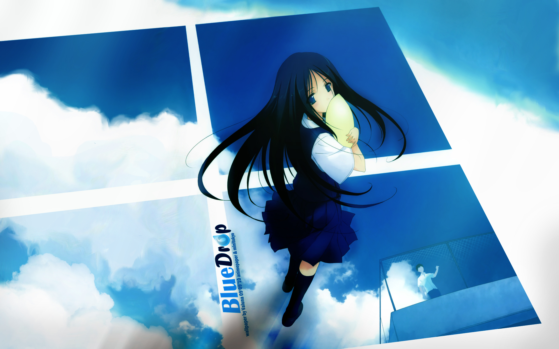 100 Wallpapers de anime HD Konachan-com-83342-blue_eyes-blue_hair-clouds-fujiwara_warawara-long_hair-scenic-sky