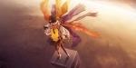konachan-com-83064-gloves-hat-masakichi-original-pantyhose-red_eyes-scarf-short_hair-skirt-sunset-sword-weapon-white_hair