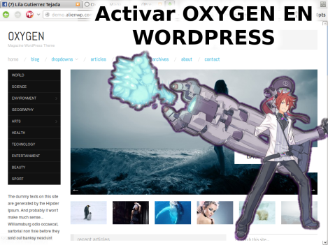 Activar Oxygen en  WordPress Theme